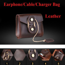 100% High High quality Leather-based Transportable Earphone Case Headphones storage bag Charger Knowledge cable case Bag Earbus earphone equipment