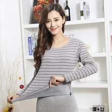 Striped thermal underwear women thickening plus velvet lovers set winter round neck Slim womens body autumn clothes