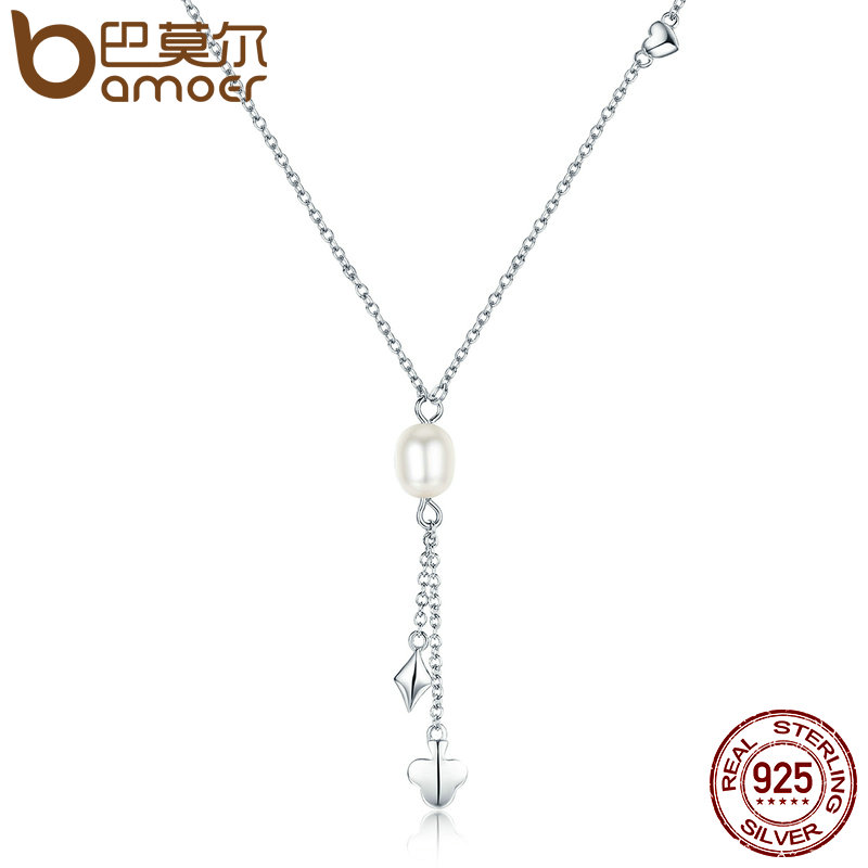 BAMOER 100% Authentic 925 Sterling Silver Fresh Water Pearl Poker Tassel Pendant Necklaces Pearl Necklace Jewelry Bijoux SCN077
