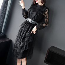 Black lace mesh patchwork slim a line party dress 2019 new stand neck high waist women spring long sleeve