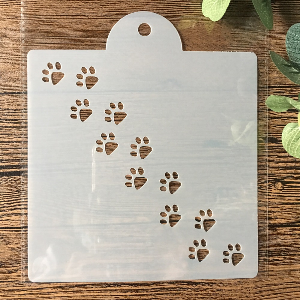 15cm Cat Dog Paw DIY Layering Stencils Painting Scrapbook Coloring Embossing Album Decorative Card Template