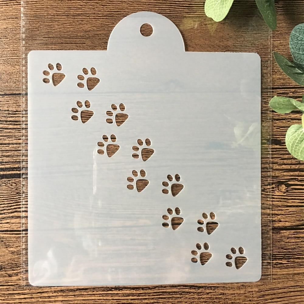15cm Cat Dog Paw DIY Layering Stencils Painting Scrapbook Coloring Embossing Album Decorative Card Template