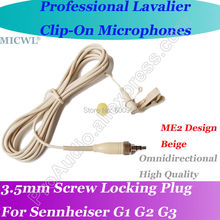MICWL Beige Wireless Lavalier Lapel Microphone for Sennheiser G1 G2 G3 Mic System