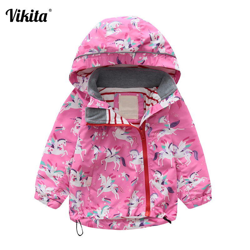 Girls Hooded Jackets Autumn Windbreaker Baby Girls Clothes 2018 Animal Kids Unicorn Cartoon Coats Outerwear Children Clothing