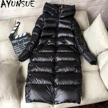 AYUNSUE куртка-пуховик на белом утином пуху, женское плотное длинное зимнее пальто, женская куртка с капюшоном в Корейском стиле, Женская куртка-пуховик, Doudoune Femme KJ727