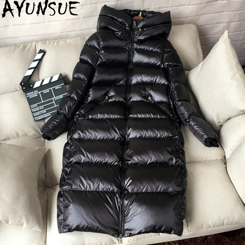 AYUNSUE Puffer Jacket Winter Coat Hooded White-Duck-Down Female Korean Long Thick KJ727 title=