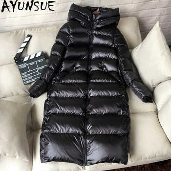 AYUNSUE White Duck Down Jacket Women Thick Long Winter Coat Women Hooded Korean Female Puffer Jacket Doudoune Femme KJ727 - DISCOUNT ITEM  57% OFF All Category