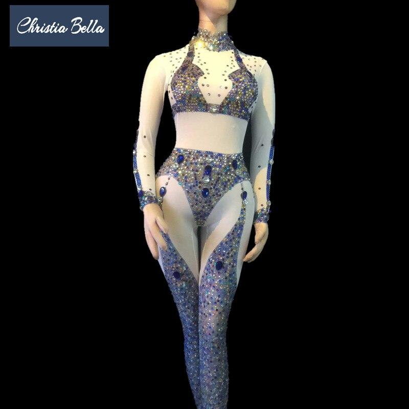Sexy Parti Outfit Stretch Léotard Scène Femmes Dancing Discothèque Travers Pole Voir Bleu À Body Maille Costumes De Chanteur Cristaux Salopette zzqdnUvr4