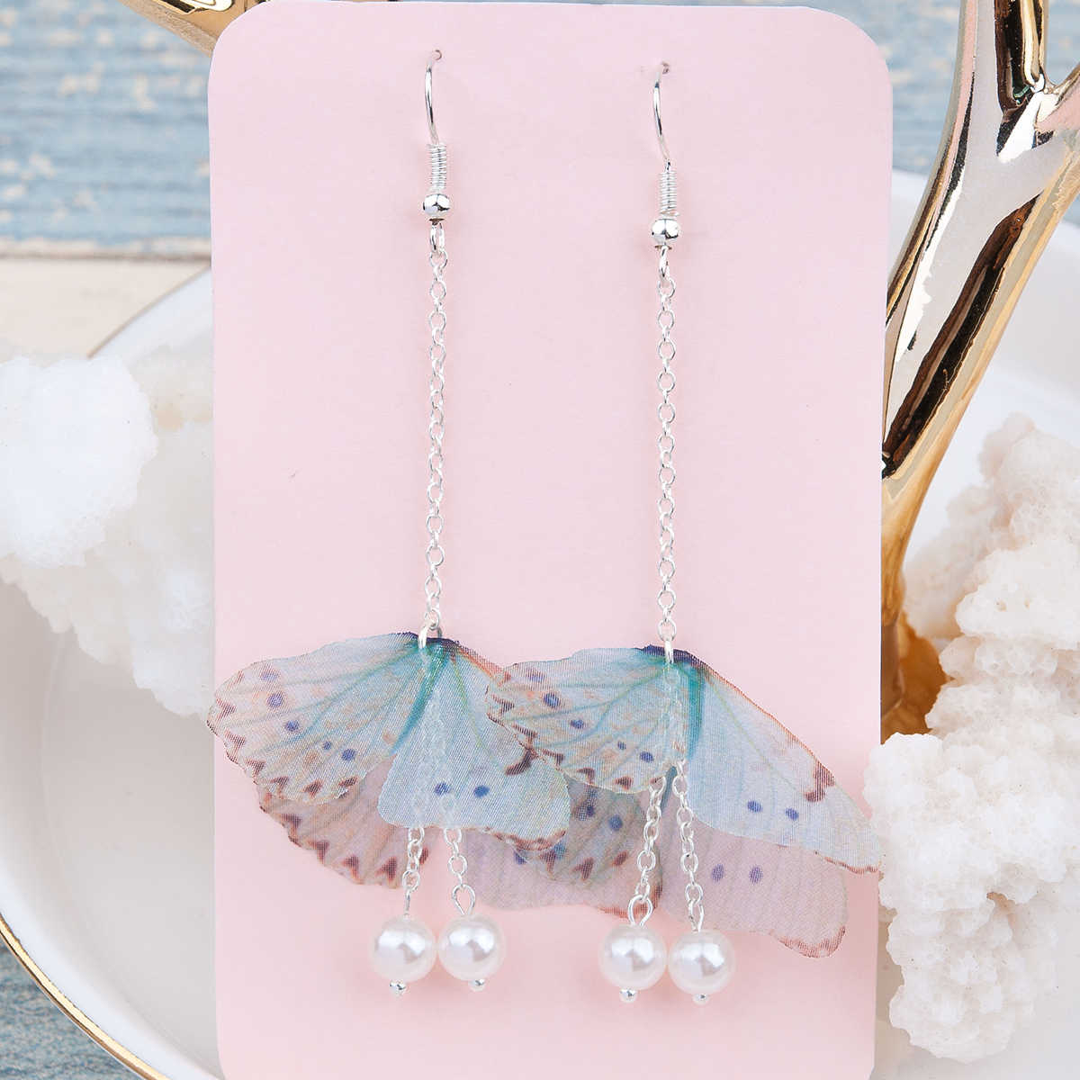 Doreen Box Organza Ethereal Butterfly Earrings Silver color Green Blue Created Pearl Fashion Earrings For Women 80mm long,1 Pair