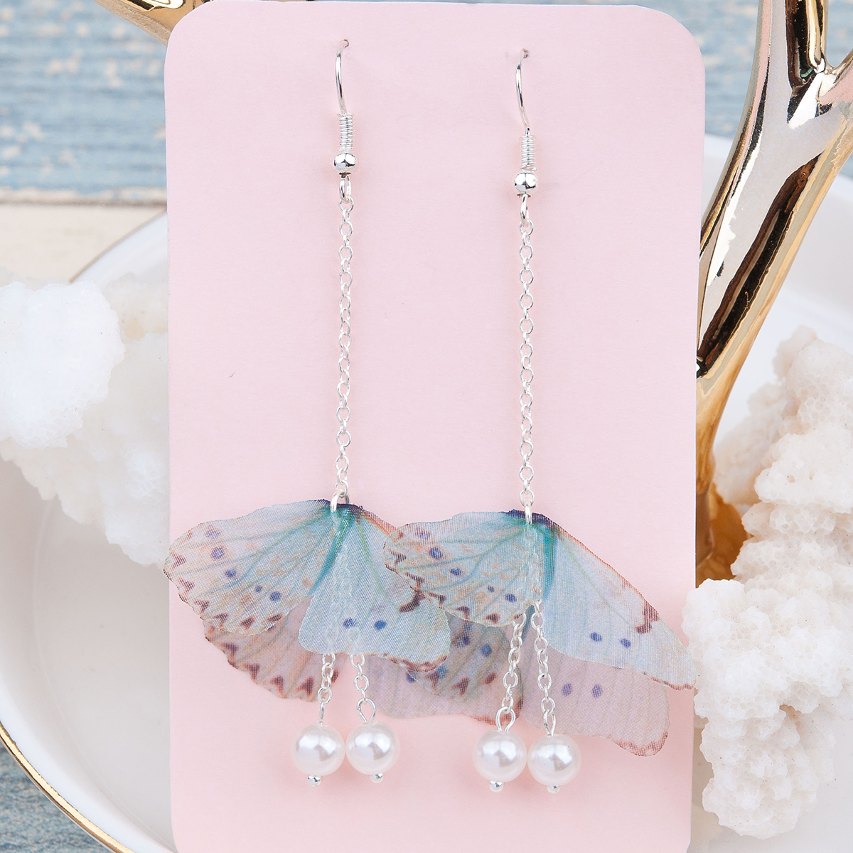 Doreen Box Organza Ethereal Butterfly font b Earrings b font Silver color Green Blue Created Pearl