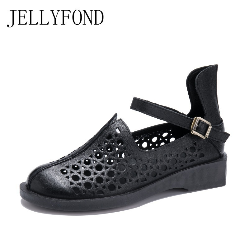 JELLYFOND 2018 Vintage Style Gladiator Sandals Women Handmade Real Leather Cover Toes Designer Platform Summer Shoes Woman phyanic 2017 gladiator sandals gold silver shoes woman summer platform wedges glitters creepers casual women shoes phy3323