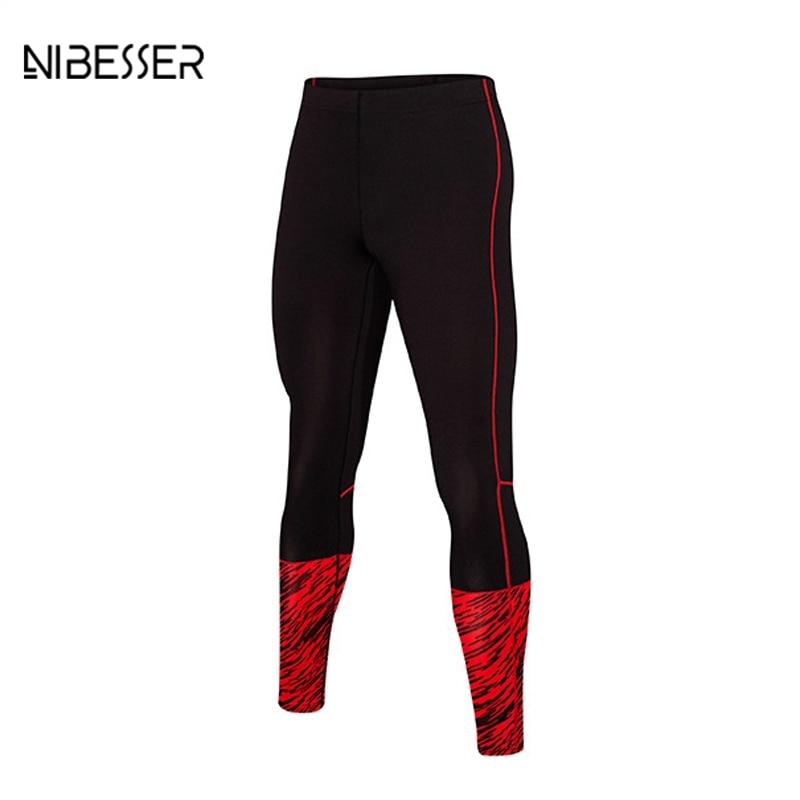 NIBESSER Fitness Leggings Men Large Size Men Quick Dry Patchwork Sweat Pants Tight Compression Leggin Slim Printed Trouser