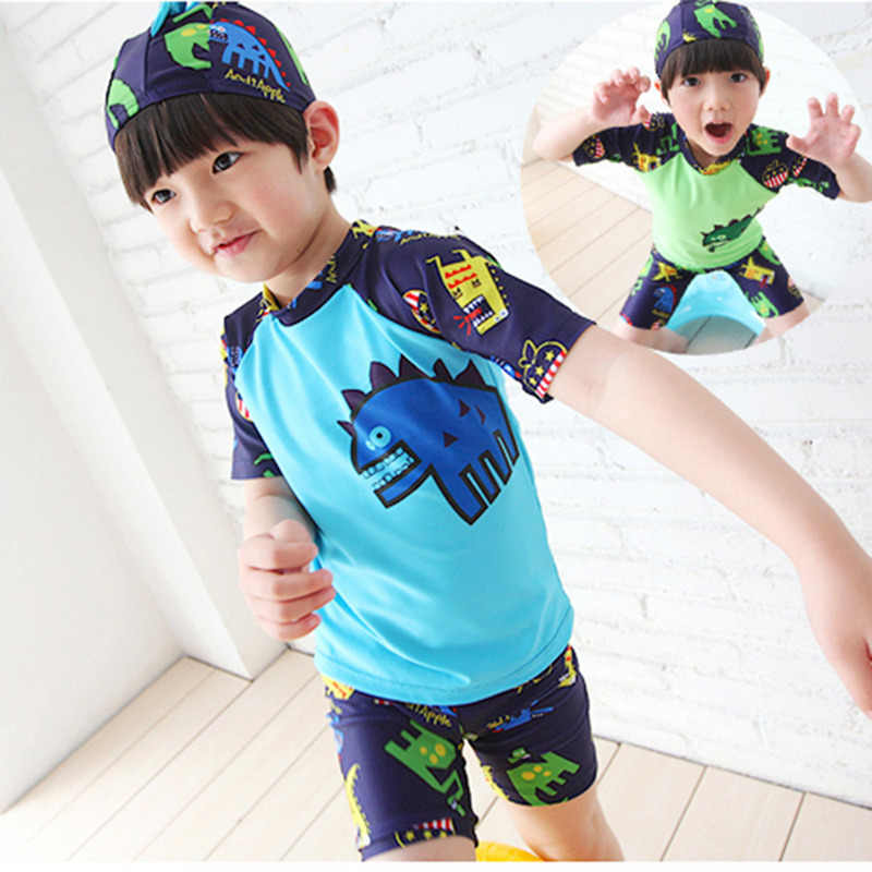 fb51e8c278 Children Boy Swimsuit Cartoon Dinosaur 2 Pieces Swim Suits Sunblock Beach  Costume Bodysuit With Cap Kids