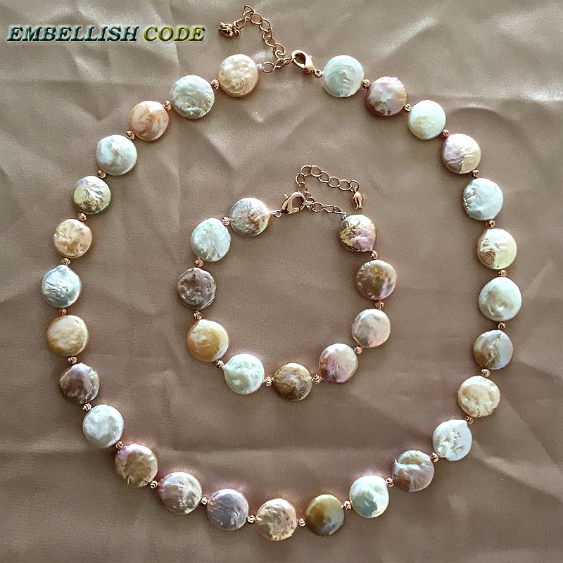 baroque pearl choker statement necklace bracelet mixed color round coin flat shape real freshwater pearls red
