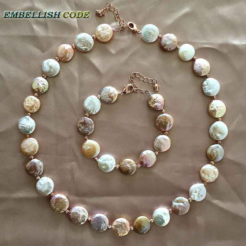baroque pearl choker statement necklace bracelet mixed color round coin flat shape real freshwater pearls red golden 3mm beads