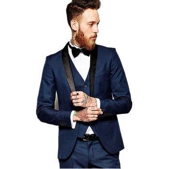 New Fashion Groom Men's Suit Blue Business Tuxedos Top Quality Wedding Suit Custom top + pants + vest