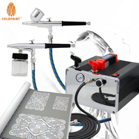 Colopaint Airbrush Face Body Art System Professional Temporary Tattoo 2 Airbrush Kit with air compressor