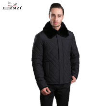 HERMZI 2019 New Winter Jacket Men Padded Coat Cotton Black Rex Rabbit Fur European Size Clothes