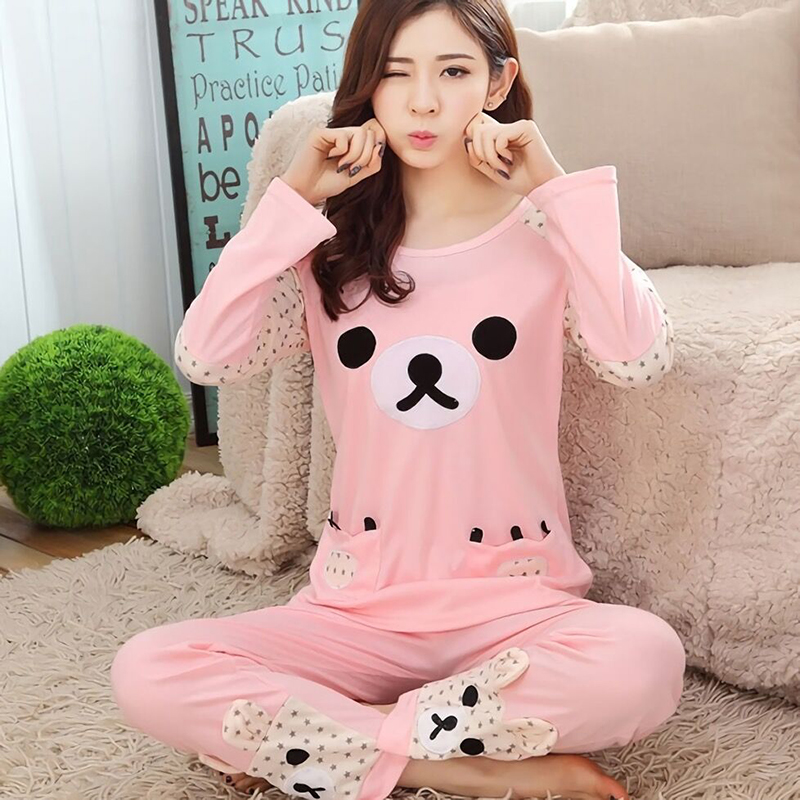 Spring Autumn Cotton Long sleeved Women Rilakkuma Pajama sets sleepwear Girls Cartoon bear pyjama suitsTracksuit M L XL