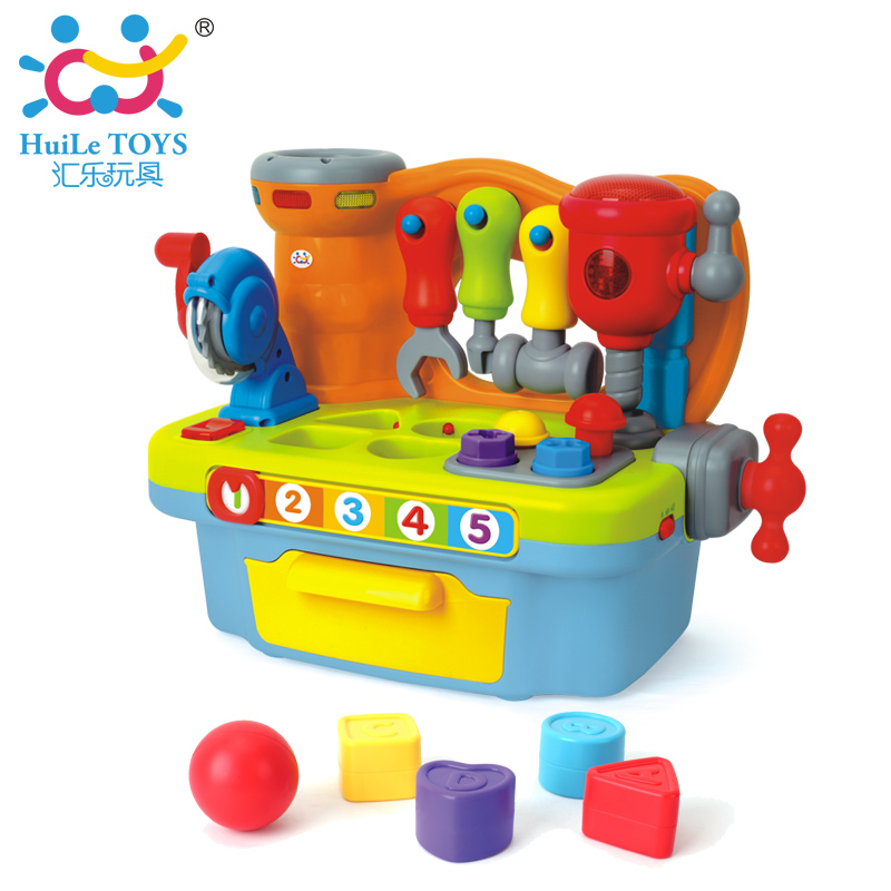HUILE TOYS 907 Baby Toys Kids Workbench Pretend Play Tool Set Electric Toy with Music & Light & Blocks Toys for Children Boys electric educational inchworm with music light toddler learning machine toy toy musical instrument huile toys 927