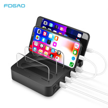 цена на FDGAO QC 3.0 USB Charger 4 Port USB Charging Station Dock Desktop Stand Multi Port mobile phone Charger For iPhone iPad Samsung