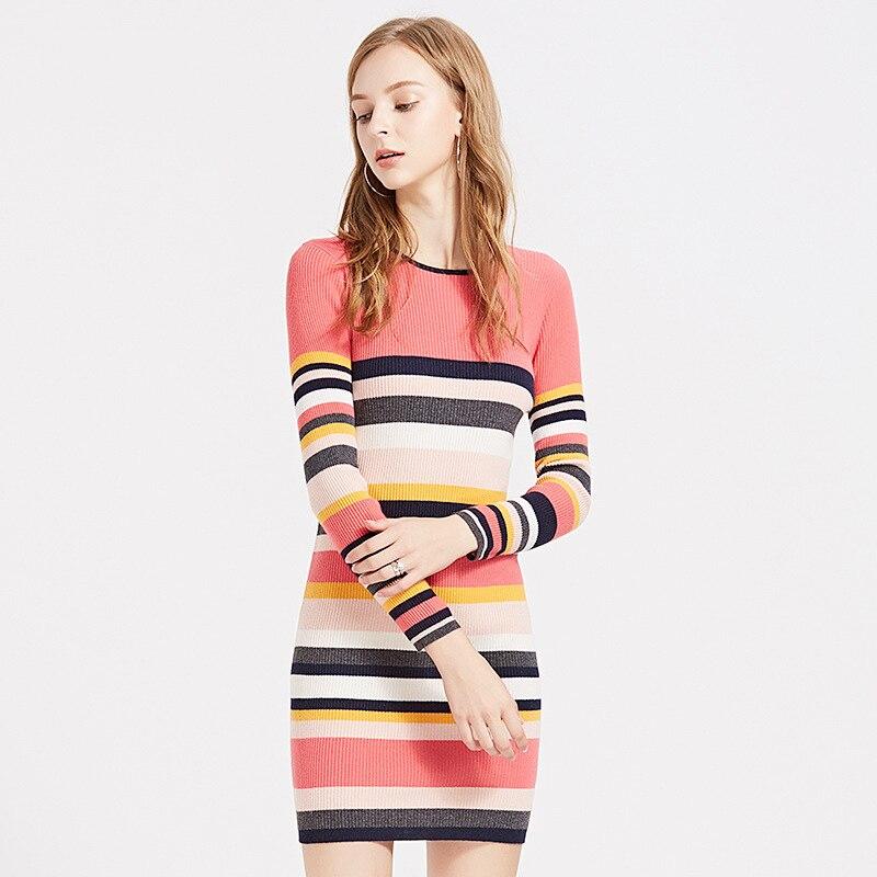 7 Tricoté D'o Pull Laine Femmes cou Hiver Stripeswith Chandails Élégant De Jumper Dame Couleur Robe magasins r14Pqr