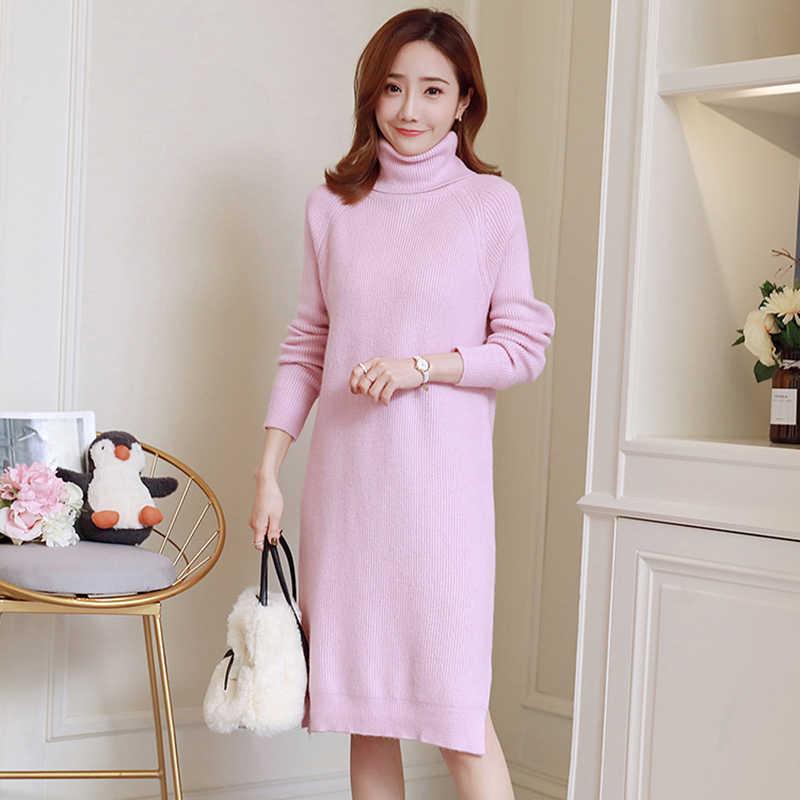 7b7d2f19b12 Maternity Dresses Plus Size Long Sleeve Turtleneck Sweater Dress For Pregnant  Women Korean Solid Split Knitted