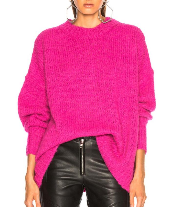 Woman Rose Pink Oversized Sweater Round Neck Drop Shoulder Long Sleeved  Knitwear Pullovers Loose FITTING Jersey 70f7ac922b26