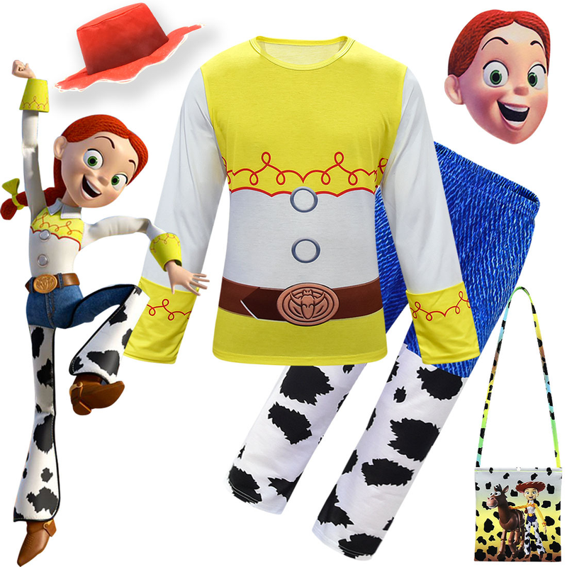 HOT Saleing Toy Story 4 Jessi Cosplay Costume Woody Cowboy Costume Top-shirt Pants Hat Bag Accessories Halloween Custom Made