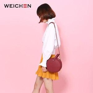 Image 3 - Bolso de hombro de piel con diseño Circular para mujer, bandoleras cruzadas, redondo