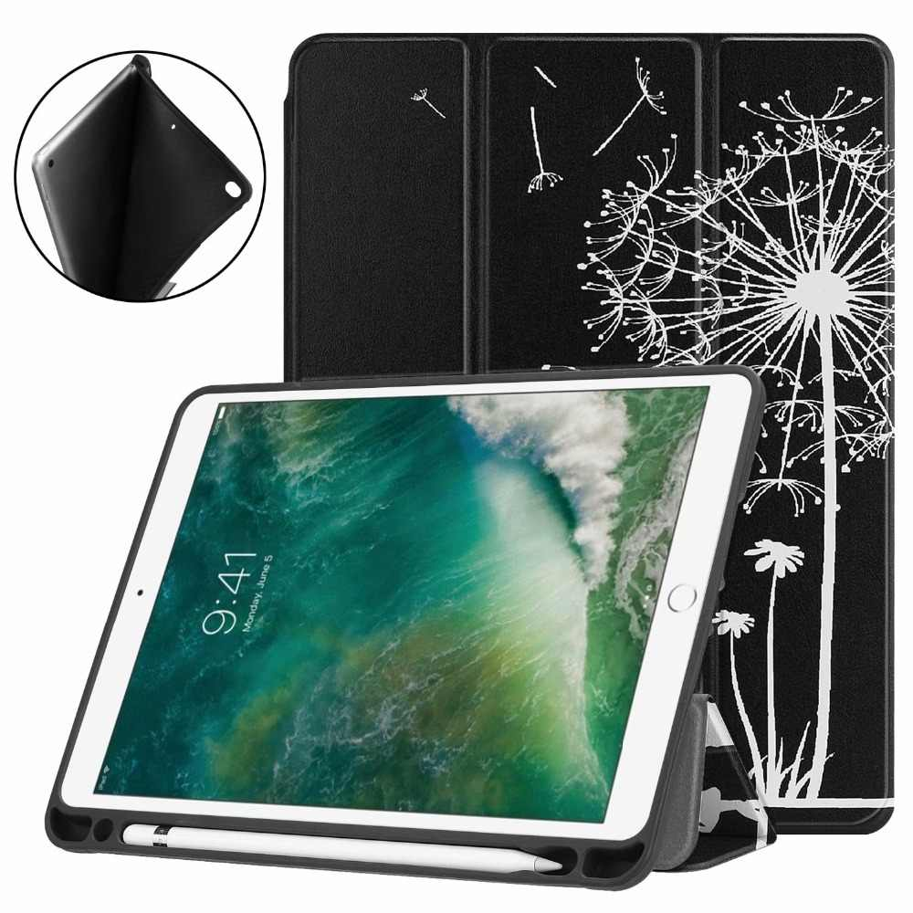 Painted Cover for Apple New IPad 9.7 2017 2018 Tablet Silicon TPU Case A1822 A1893 for Ipad Air Air 2 Stand Shell  + Stylus Pen