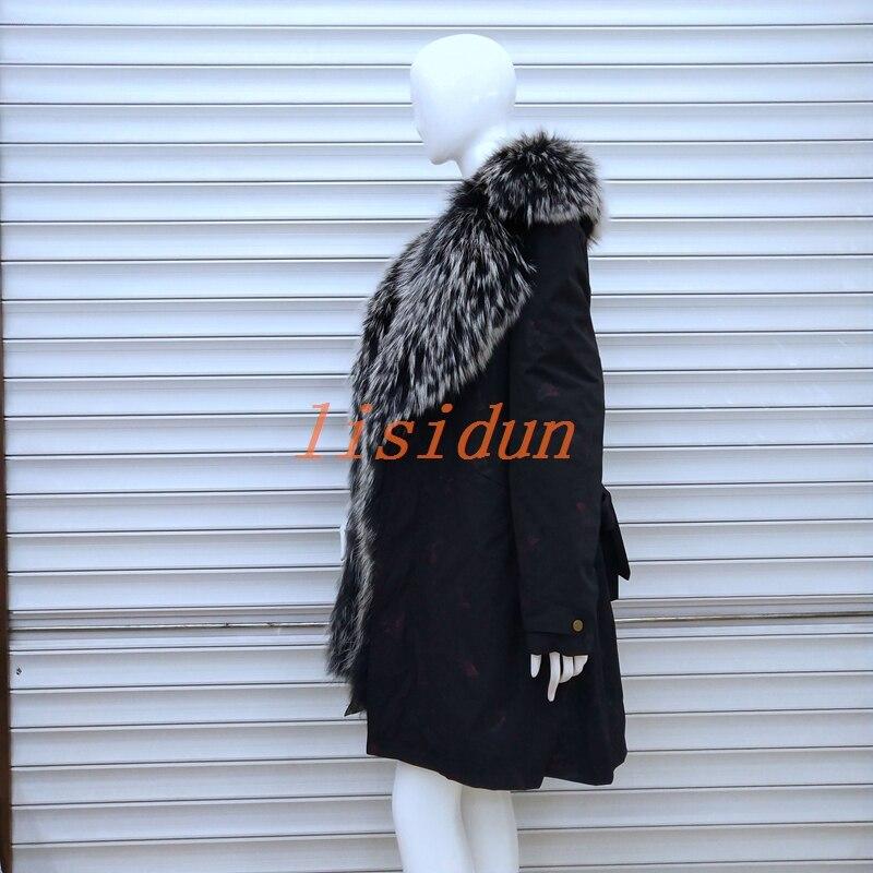 Lisidun manteau de fourrure renard Réel naturel renard col manteau naturel fourrure de Raton Laveur doublure hiver veste Longue à capuche parkas