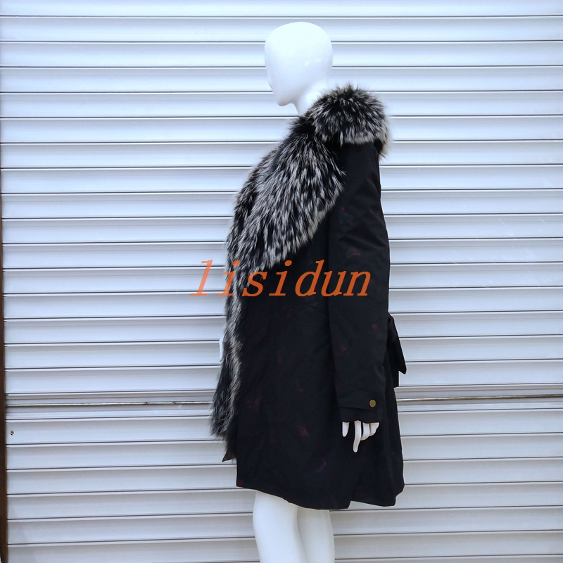 lisidun fur coat fox  Real natural fox collar coat natural Raccoon fur lining winter jacket Long hooded parkas