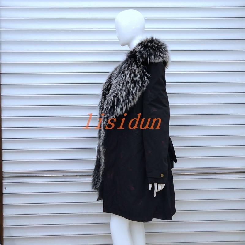 lisidun fur coat fox  Real natural fox collar coat natural Raccoon fur lining winter jacket Long hooded parkas