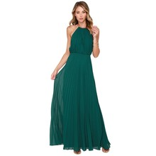 Women's Sleeveless Dresses Long Party Maxi Dresses Bridesmaid Floor-Length Solid Halter Summer Adult Graduation Girls Dress(China)
