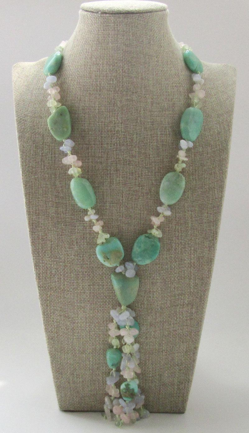 Jewelr 006105 naturel Australie pierre & bleu calcédoine & vert grenat & cristal collier