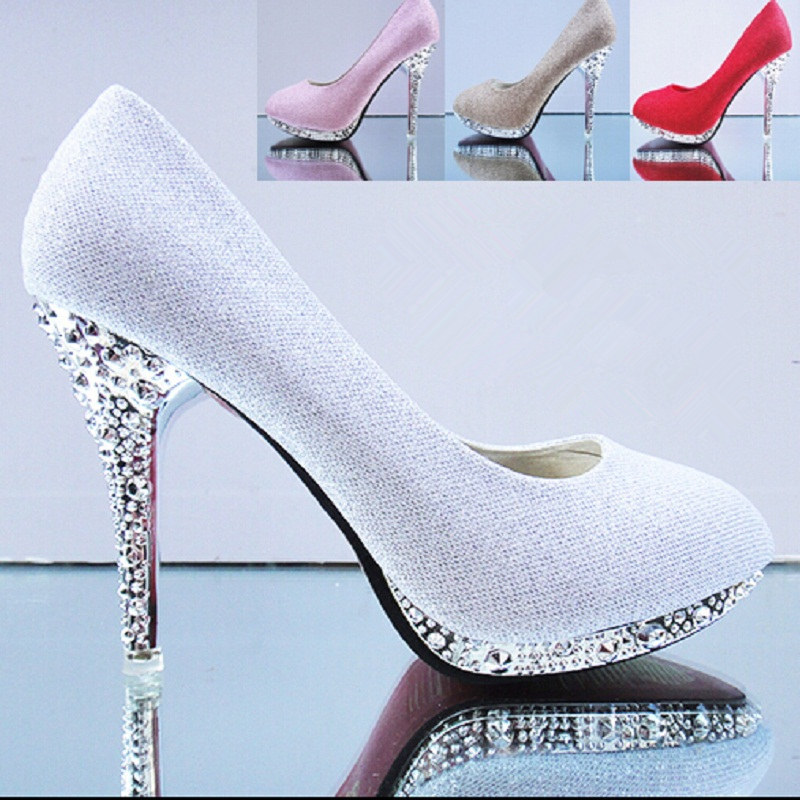 2016 Spring Autumn Women Gold Silver Pink Wedding Bridal Rhinestone High Heels Royal Stiletto Pumps For