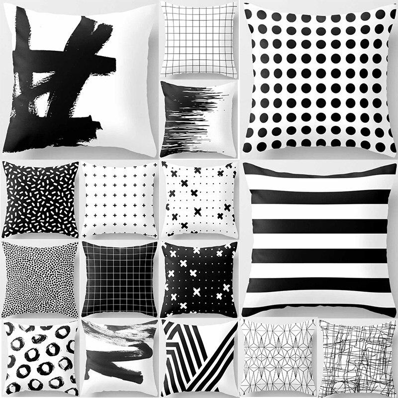 Unicorn pillow case geometric black white gray double sides pattern square pillow case cover home pillow