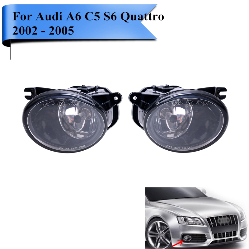 Replacement Fog Lamp For Audi A6 C5 S6 Quattro 2002 - 2005 Front Bumper Fog Light with H7 Bulbs Car Lights Accessories #P314 for opel astra h gtc 2005 15 h11 wiring harness sockets wire connector switch 2 fog lights drl front bumper 5d lens led lamp