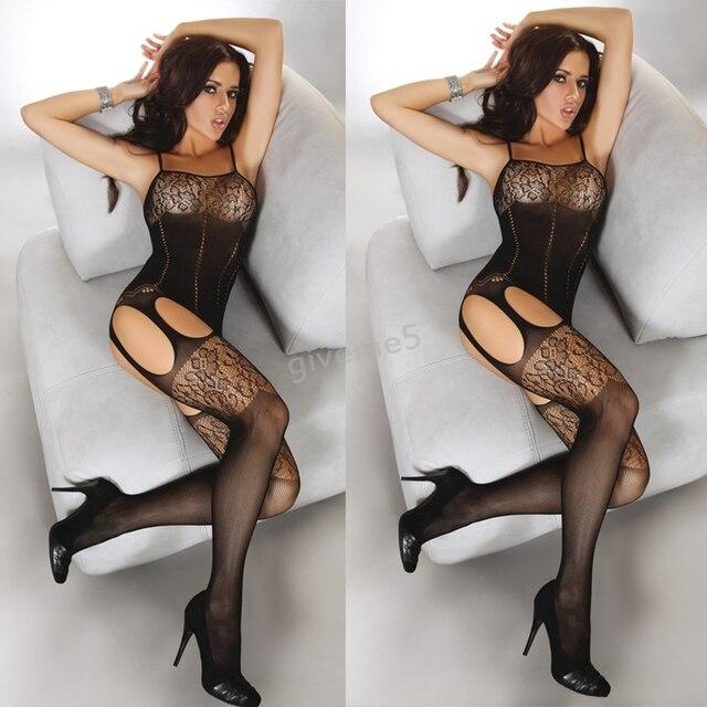c3d635321 2017 New Hot Sexy Lingerie Stockings Jacquard Hole Small Mesh Clothings  Bodysuit Temptation Fishnet Stockings b14
