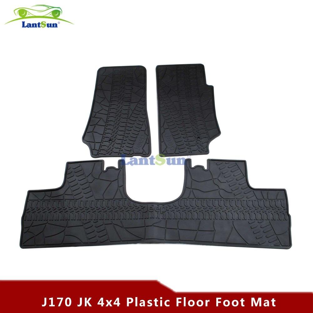 Rubber floor mats discovery 4 - One Set J170 4 Door Black Rubber Floor Foot Floor Mat Kit For Jeep Wrangler Jk