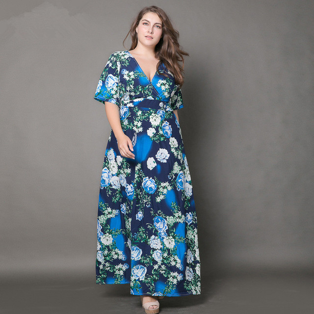 Summer XXL-4L 5XL 6L 6XL Large size Dress Women Flower Print V-neck A-line  Maxi Long Dresses Plus Size Clothing XXXXL XXXXXL OK a138b8b92