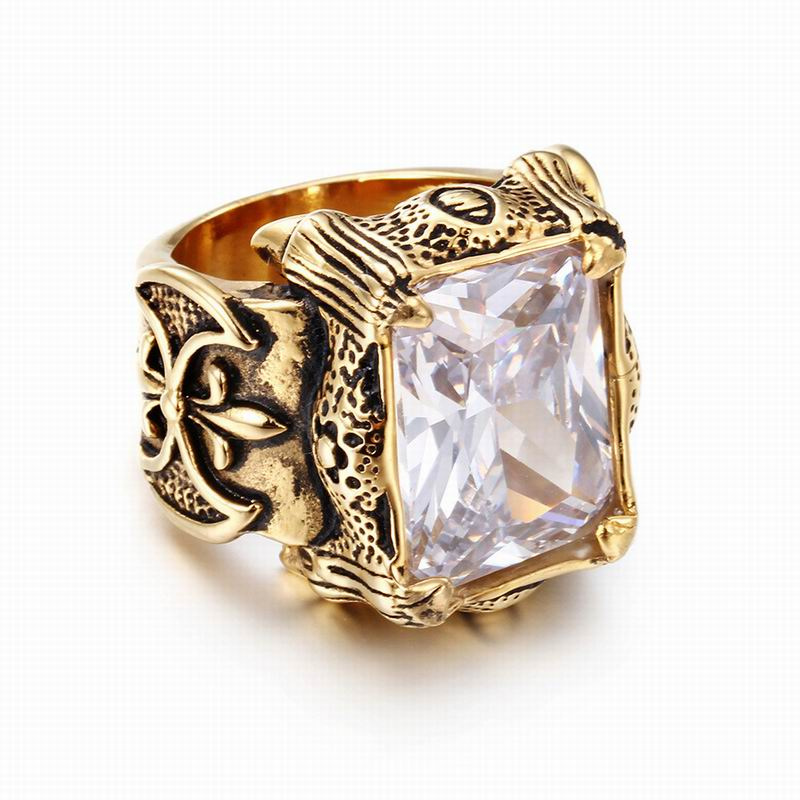 Mens Jewelry Stainless Steel Seal Style Gold Color Shining Big Crystal Rings For Women Men Punk Rock Dragon Signet Rings