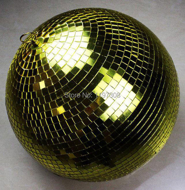 "D25cm Gold hand made glass rotating mirror ball 10"" disco DJ Home party stage KTV Bars shops holiday X'mas decoration hang balls"