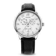 Time2u para hombre de negocios Formal ultrafino del reloj del cuarzo de pulsera con Triple ventana 6 manos