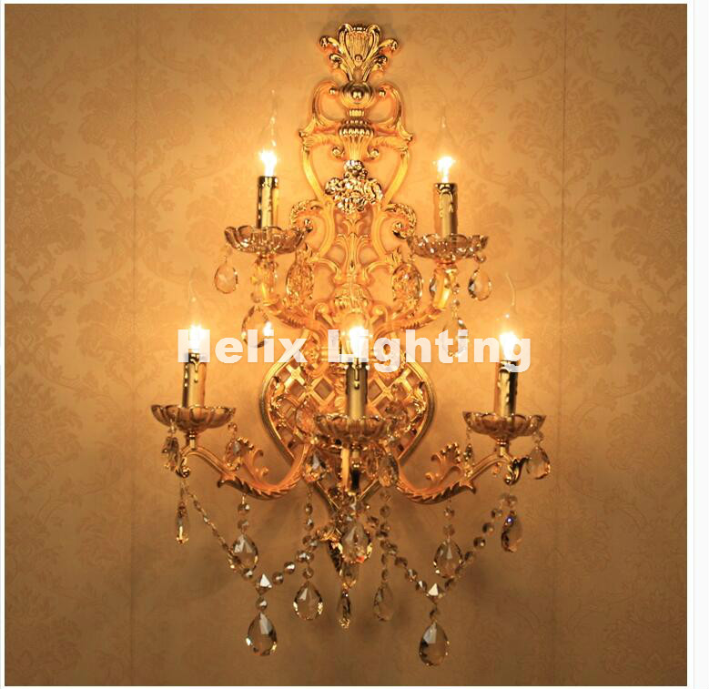 Us 245 3 11 Off Free Shipping Crystal Wall Lamps 5 Lights Golden Color Vintage Wall Sconce Light E14 Led Crystal Wall Bracket Bra Bed Lighting In