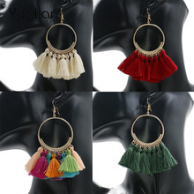 Tassel Earrings For Women Round Drop Earrings Bohemia Fashion Jewelry Cotton Rope Fringe Long Dangle Fringed bohemia round fringe dangle earrings