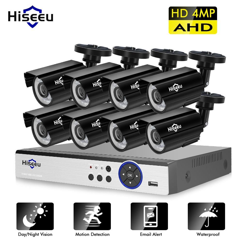 Hiseeu 4MP система безопасности 8CH AHD DVR комплект 4/8 шт.. 4.0MP HD Крытая наружная камера видеонаблюдения P2P система видеонаблюдения Комплект