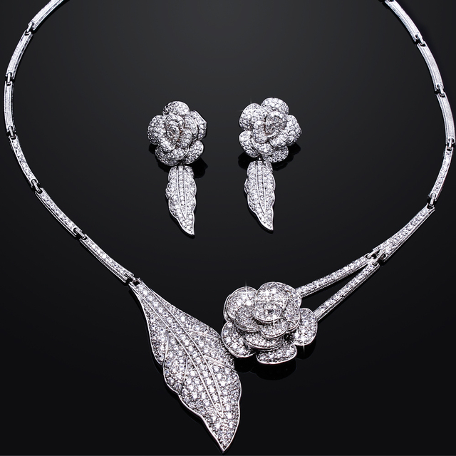 Romantic Rose Wedding Bridal Jewelry Sets Real Gold Plated With AAA CZ Flower Necklace & Earrings Jewellerys set Free Shipping