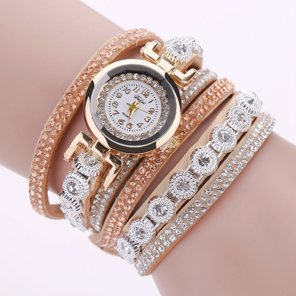 Duoya Brand Women Bracelet Watch 2016 Crystal Round Dial Luxury Wrist Watch For Women Dress Gold Ladies Leather Clock Watch 12